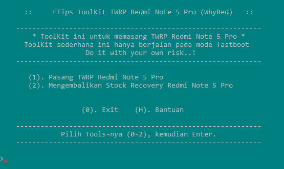 Cara Install / Pasang TWRP Xiaomi Redmi Note 5 Pro(WhyRed)