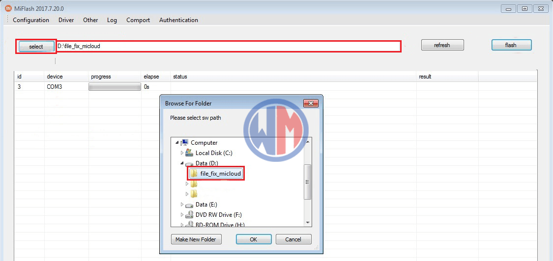 Cara Remove / Bypass MI Cloud (MI Account) Redmi Note 3 Pro (Kenzo) dengan file / tools Premium